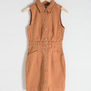 Sleeveless Tan Denim Mini Dress